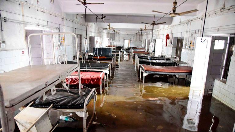 A ward was flooded at the Nalanda Medical College and Hospital in Patna