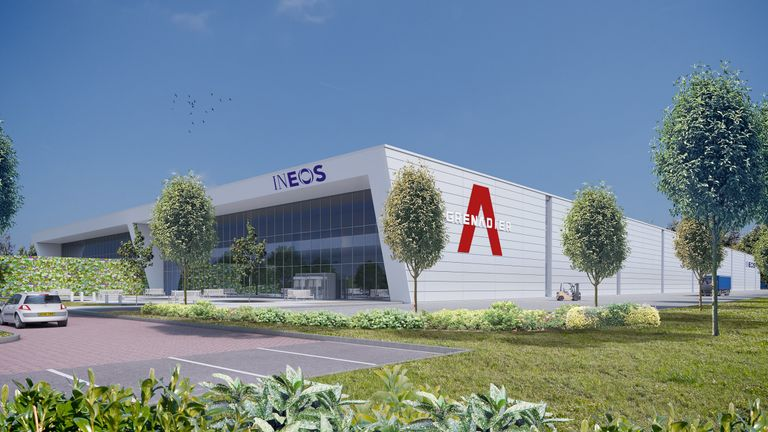 Mock-up of the Ineos Automotive 4X4 vehicle plant in Bridgend