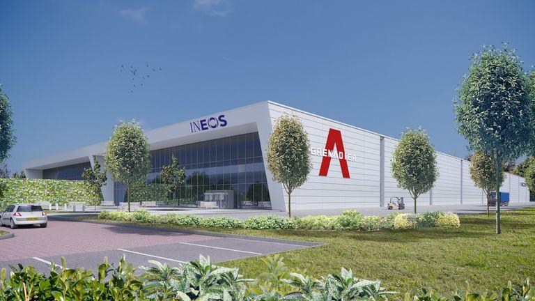 Mock-up of the Ineos Automotive 4X4 vehicle plant in Bridgend
