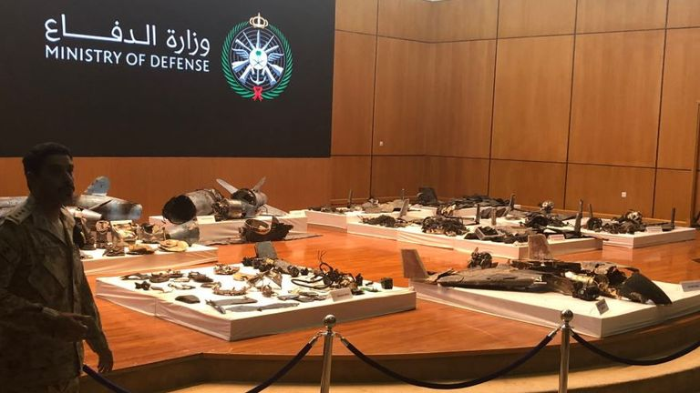 Saudi Defence Ministry presents material evidence and Iranian weapons proving Iran's involvement in the attacks