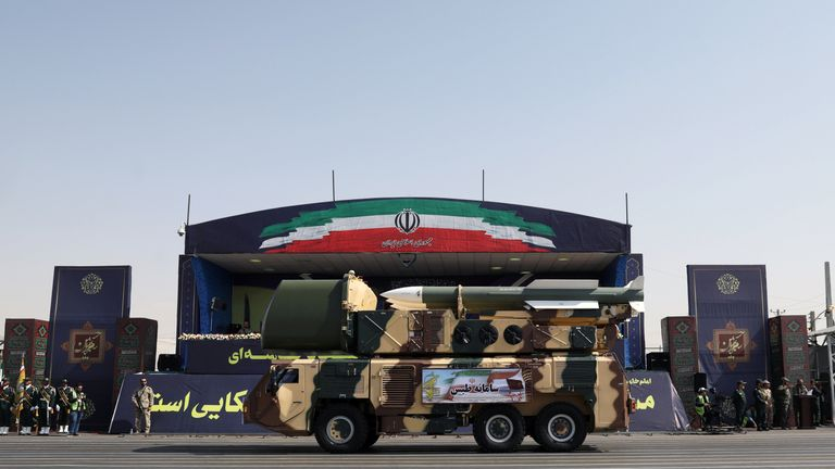 Missiles are displayed by Iran's army during the ceremony of the National Army Day parade in Tehran, Iran September 22, 2019