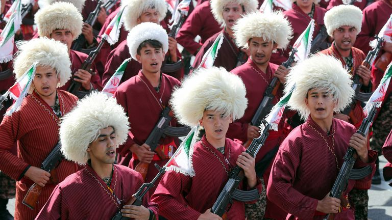 Iranian Turkmen popular armed company parade during the ceremony of the National Army Day parade in Tehran,Iran September 22, 2019