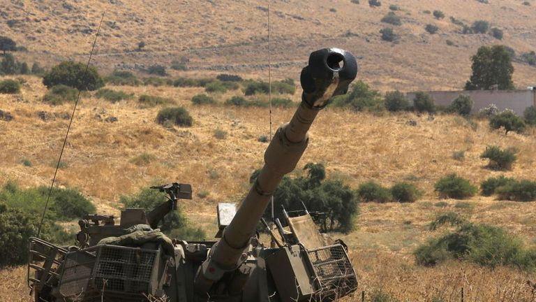 An Israeli self-propelled artillery gun near the Lebanese border on 1 September