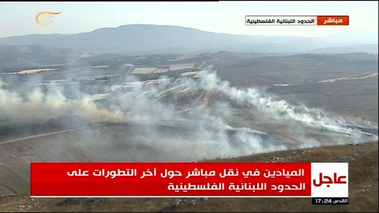 Fire started after retaliatory strikes by Israel on Lebanon