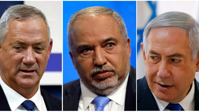 Benny Gantz, Avigdor Lieberman and Benjamin Netanyahu lead the three parties which could form a coalition