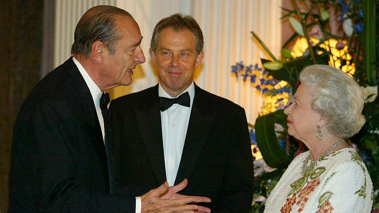 Jacques Chirac, left, with Tony Blair and Queen Elizabeth II in 2005