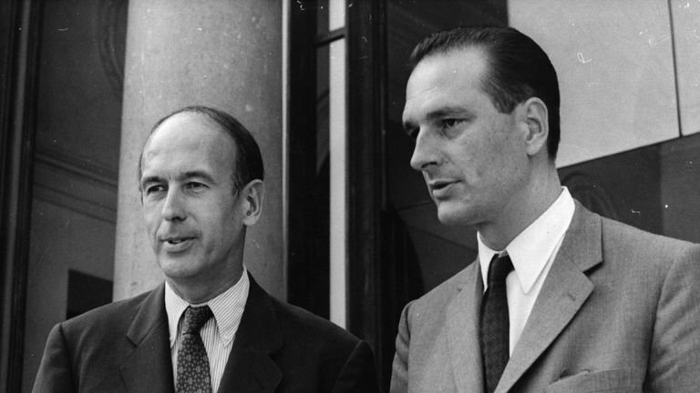 Mr Chirac, right, was a finance minister in 1969