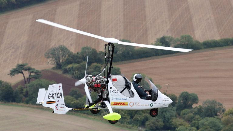 UK adventurer is first person to fly solo around world in open-cockpit gyrocopter