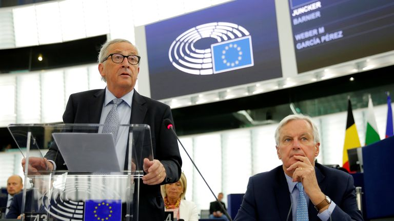 European Commission President Jean-Claude Juncker and European Union's chief Brexit negotiator Michel Barnier