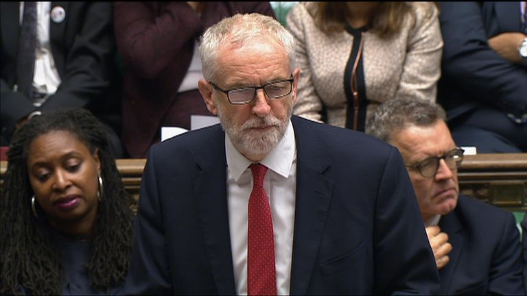 Jeremy Corbyn says the government has failed in the Brexit negotiations, on climate change and for not saving Thomas Cook.