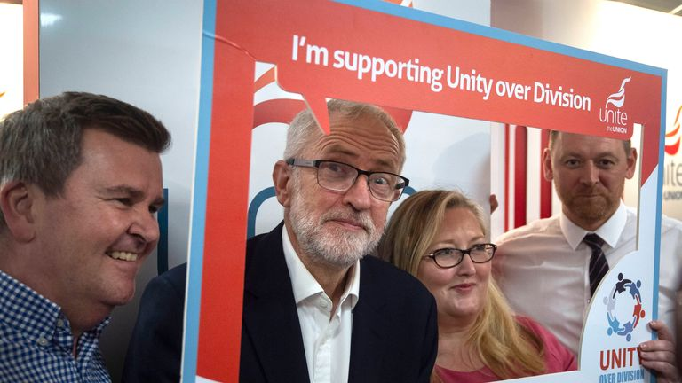 Jeremy Corbyn during a walk around the trade stalls at the Labour Party Conference.