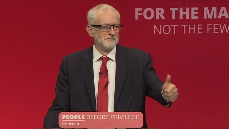 Jeremy Corbyn delivers his speech at Labour's annual conference