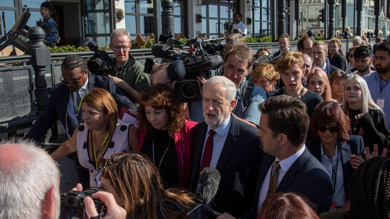 Jeremy Corbyn was mobbed by the press as he arrived at the Labour conference