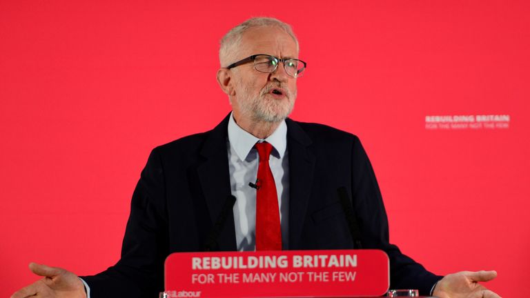 SALFORD, ENGLAND - SEPTEMBER 02: Labour leader Jeremy Corbyn speaks at a rally ahead of a shadow cabinet meeting on September 02, 2019 in Salford, England. The Labour leader is making a major speech about the battle to stop a No Deal Brexit. The weekend saw demonstrations all over the country against Boris Johnson's move to suspend parliament. (Photo by Anthony Devlin/Getty Images)