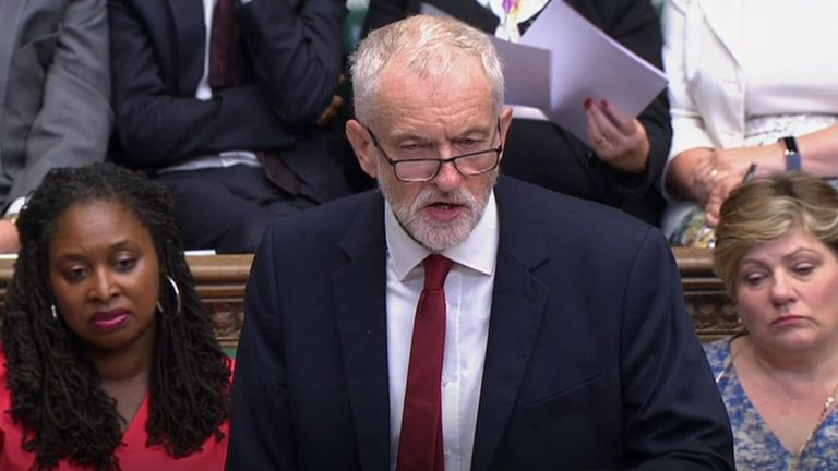 Labour leader Jeremy Corbyn responds after Prime Minister Boris Johnson made a statement to MPs in the House of Commons, London, on the G7 Summit in Biarritz.