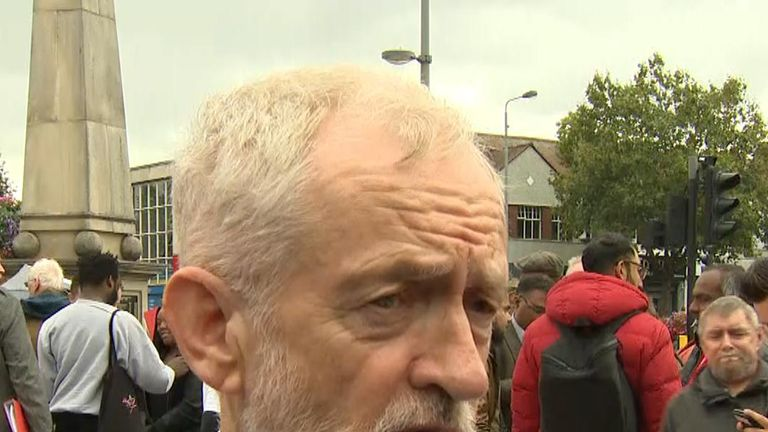 Jeremy Corbyn says he would take up role as interim prime minister