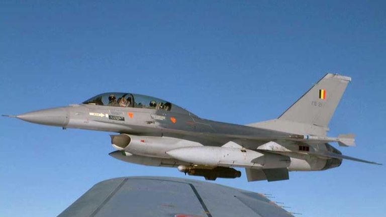 A file picture of the  Belgian F-16 fighter jet which crashed in northwest France
