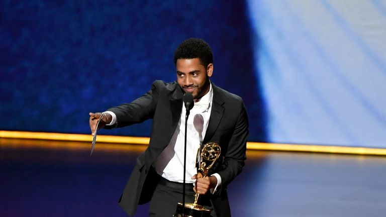 Jharrel Jerome on stage at the Emmys