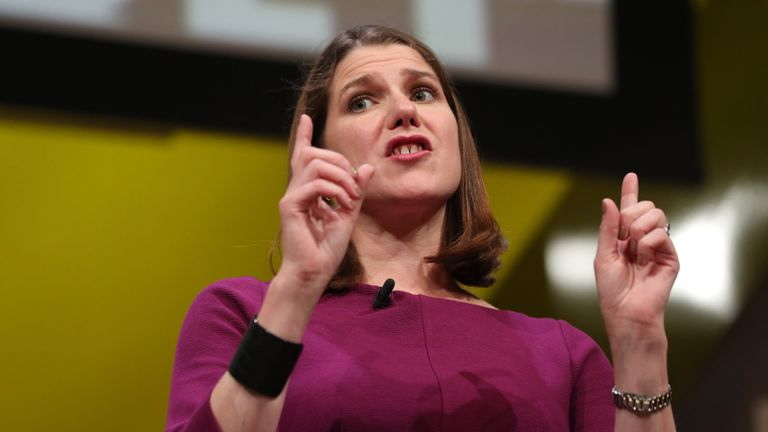 Liberal Democrat leader Jo Swinson participates in a question and answer session during the Liberal Democrats autumn conference at the Bournemouth International Centre in Bournemouth.