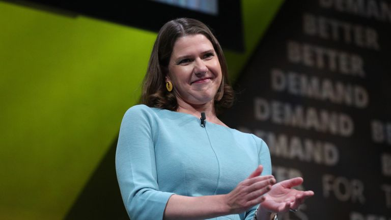 Liberal Democrat leader Jo Swinson makes a speech during the Liberal Democrats autumn conference