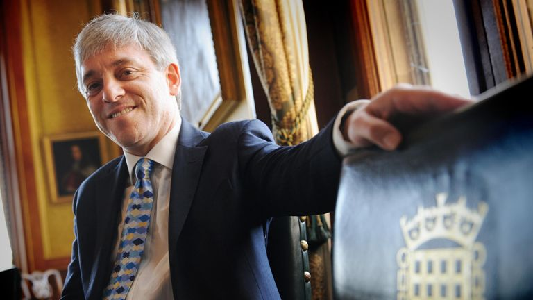 The new Speaker of the House of Commons, John Bercow, in his office at the House of Commons in Westminster. The Speaker revealed that he will not claim the parliamentary second home allowance while in the post.