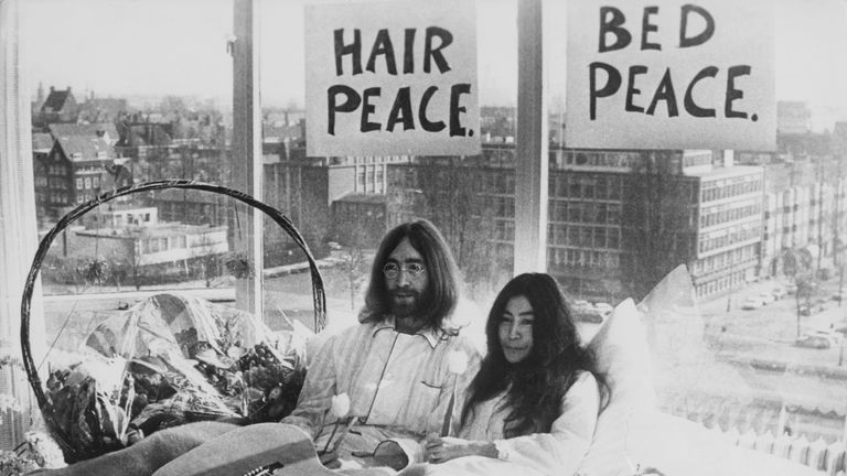 Beatle John Lennon and his wife of a week Yoko Ono in their bed in the Presidential Suite of the Hilton Hotel, Amsterdam, 25th March 1969. The couple are staging a 'bed-in for peace' and intend to stay in bed for seven days 'as a protest against war and violence in the world'