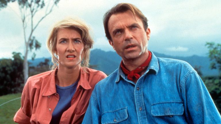 Laura Dern (left) and Sam Neill (right) first appeared in the Jurassic Park franchise in the 1993 original film, alongside Jeff Goldblum