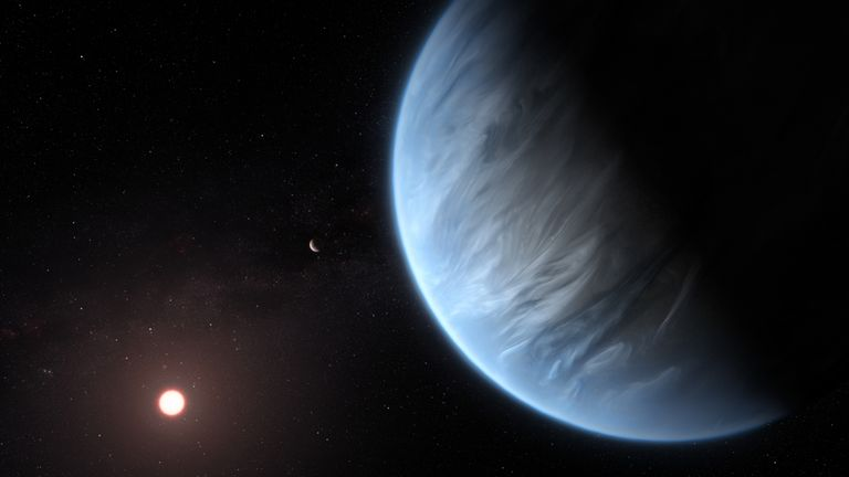 This artist's impression shows the planet K2-18b, its host star and an accompanying planet in this system. Pic: ESA/Hubble, M. Kornmesser