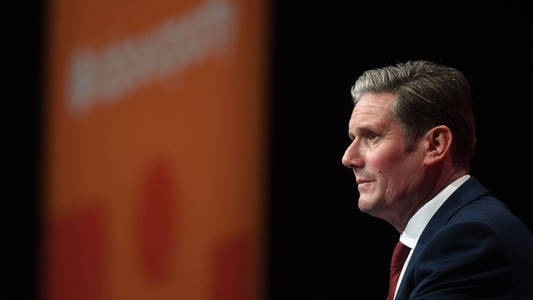 Shadow Brexit secretary Sir Keir Starmer delivers his speech during the Labour Party Conference at the Brighton Centre in Brighton