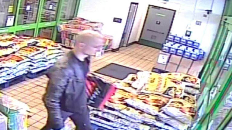 CCTV footage of Kirill Belorusov in a Homebase store where bought an axe, rubber clogs, rubble sacks and compost