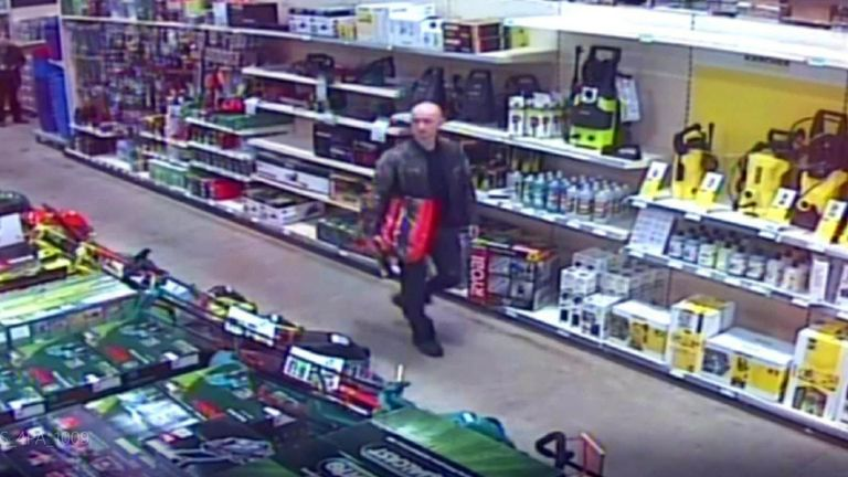 Kirill Belorusov caught on CCTV in a Homebase store two days before the victim's body was found