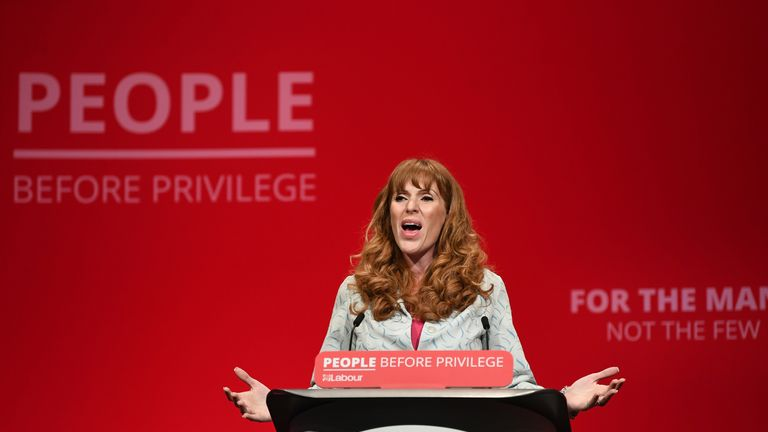 Shadow education secretary Angela Rayner gives a speech during the Labour Party Conference at the Brighton Centre in Brighton