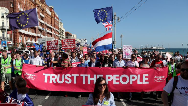 Emily Thornberry and Sir Keir Starmer at the Anti-Brexit 'Trust the People' march and rally held by the People's Vote campaign during the Labour Party Conference in Brighton