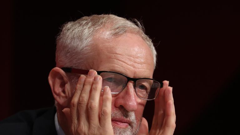 Jeremy Corbyn on stage during the Labour Party Conference at the Brighton Centre in Brighton.