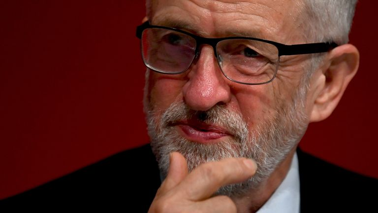 Britain's main opposition Labour Party leader Jeremy Corbyn listens to a speaker on the first day of the Labour party conference in Brighton, on the south coast of England on September 21, 2019