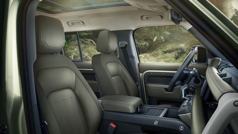 The interior of the new Defender is more luxurious than previous owners have been used to. Pic: JLR