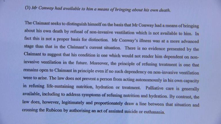 The government claim Mr Newby is able to refuse food in order to die