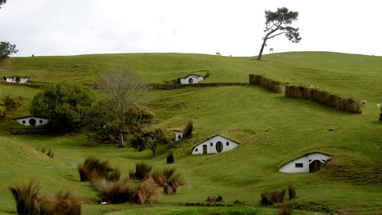 The remains of the Hobbiton movie set from the film the Lord of the Rings at the town of Matamata in the North Island of New Zealand