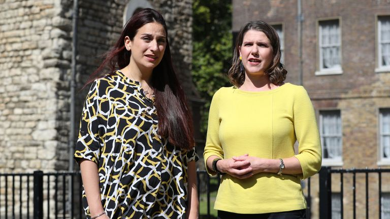 Luciana Berger with Liberal Democrat leader Jo Swinson (right) on College Green, Westminster