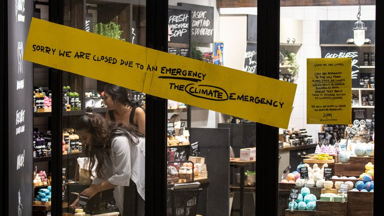 A Lush store in Singapore has closed as climate strikes take place