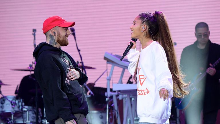 Mac Miller and Ariana Grande perform on stage during the One Love Manchester Benefit Concert at Old Trafford on June 4, 2017 in Manchester, England
