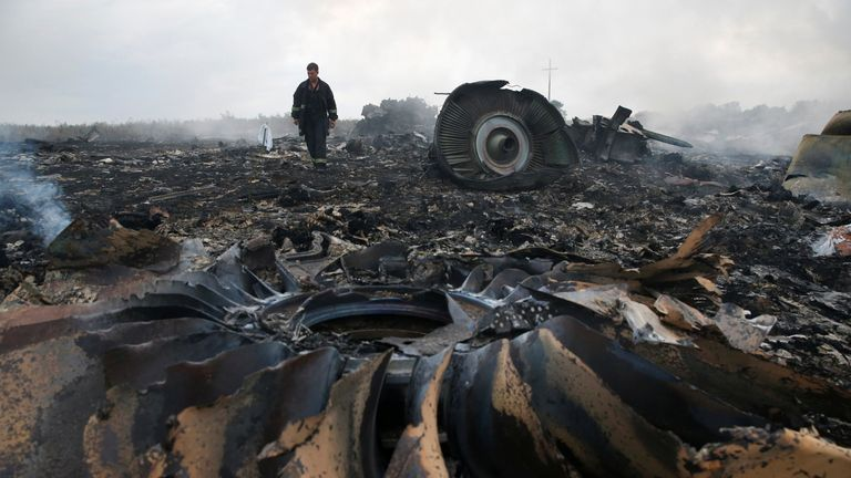 An Emergencies Ministry member walks at a site of a Malaysia Airlines Boeing 777 plane crash near the settlement of Grabovo in the Donetsk region, July 17, 2014