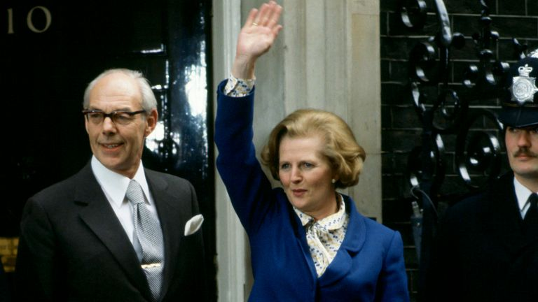 LONDON, UNITED KINGDOM - MAY 04, 1979:   Prime Minister Margaret Thatcher, with husband Denis Thatcher, waves to well-wishers outside Number 10 Downing Street following her election victory, on May 4, 1979 in London, England.  (Photo by Tim Graham/Getty Images)