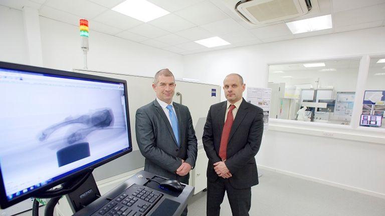 Detective Superintendent Mark Payne (left) and Professor Mark Williams at the facility. Photo: WMG, University of Warwick