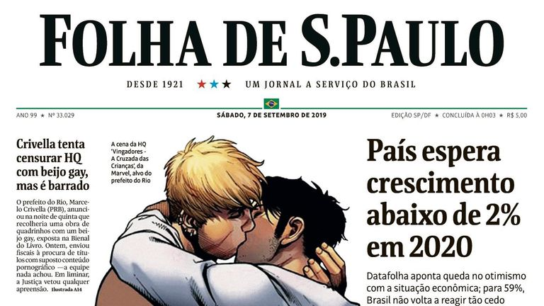 The illustration featured on the front of newspaper Folha de Sao Paulo. Pic:  Folha de Sao Paulo/Twitter