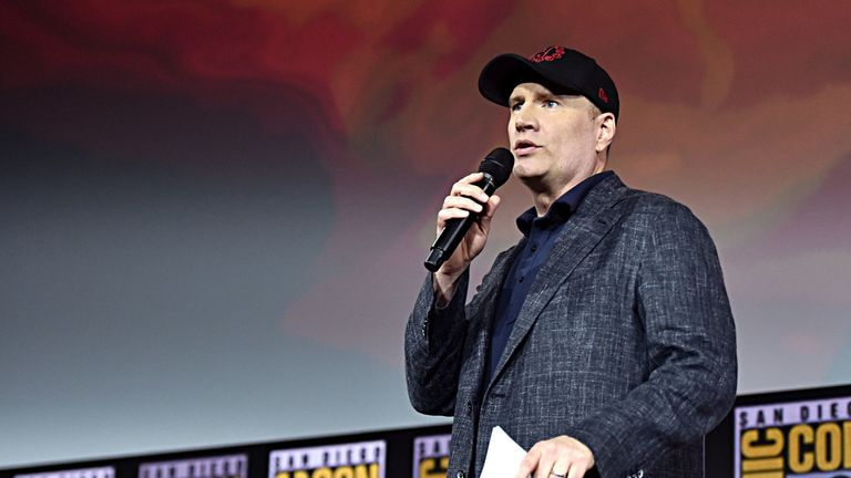 President of Marvel Studios Kevin Feige at the San Diego Comic-Con International 2019 Marvel Studios Panel in Hall H on July 20, 2019 in San Diego
