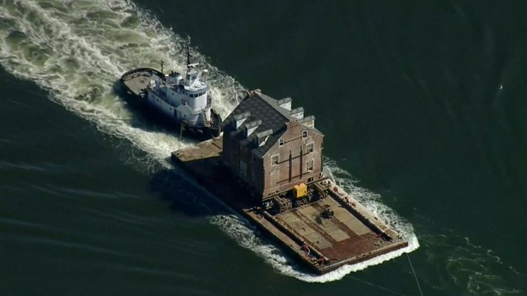 A 255-year-old historic mansion has been transported 50 miles by barge in Maryland