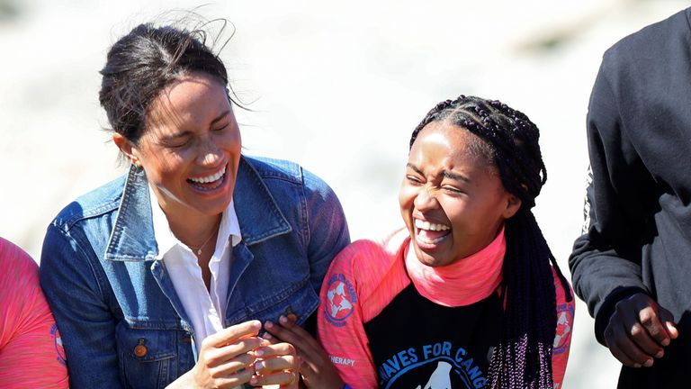 The Duchess of Sussex meets with members of the NGO Waves for Change