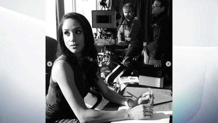 Meghan played Rachel Zane in legal drama suits. Pic: Patrick J. Adams/Instagram