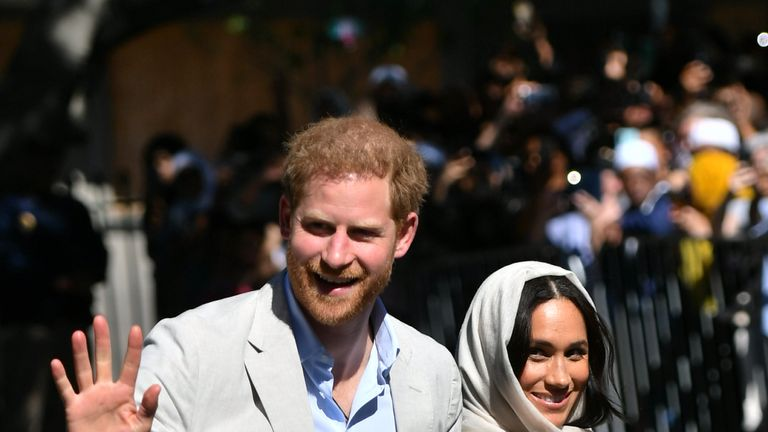Harry and Meghan arrive for a visit to the Auwal Mosque, Cape Town